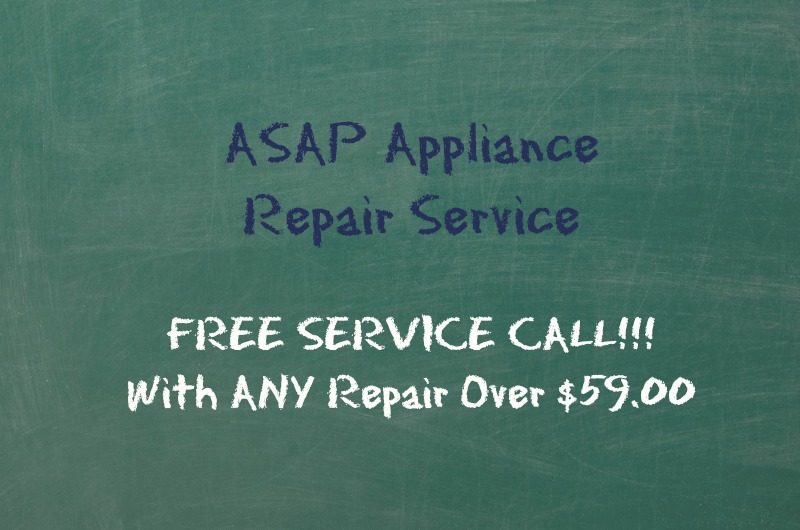 Free service call on appliance repair over $59.
