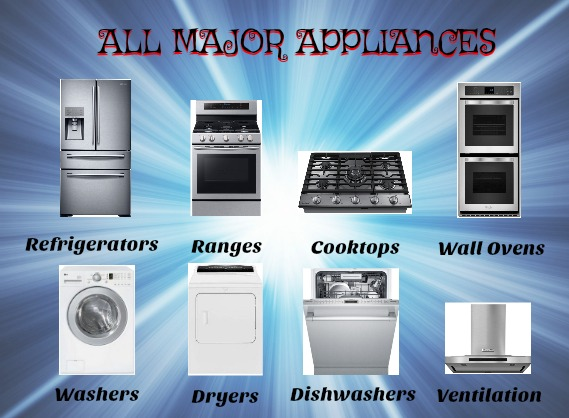 Refrigerator repair, Range repair, Cook Top repair, Wall oven repair, Washer repair, Dryer repair, Dishwasher repair, hood vent repair and garbage disposal repair
