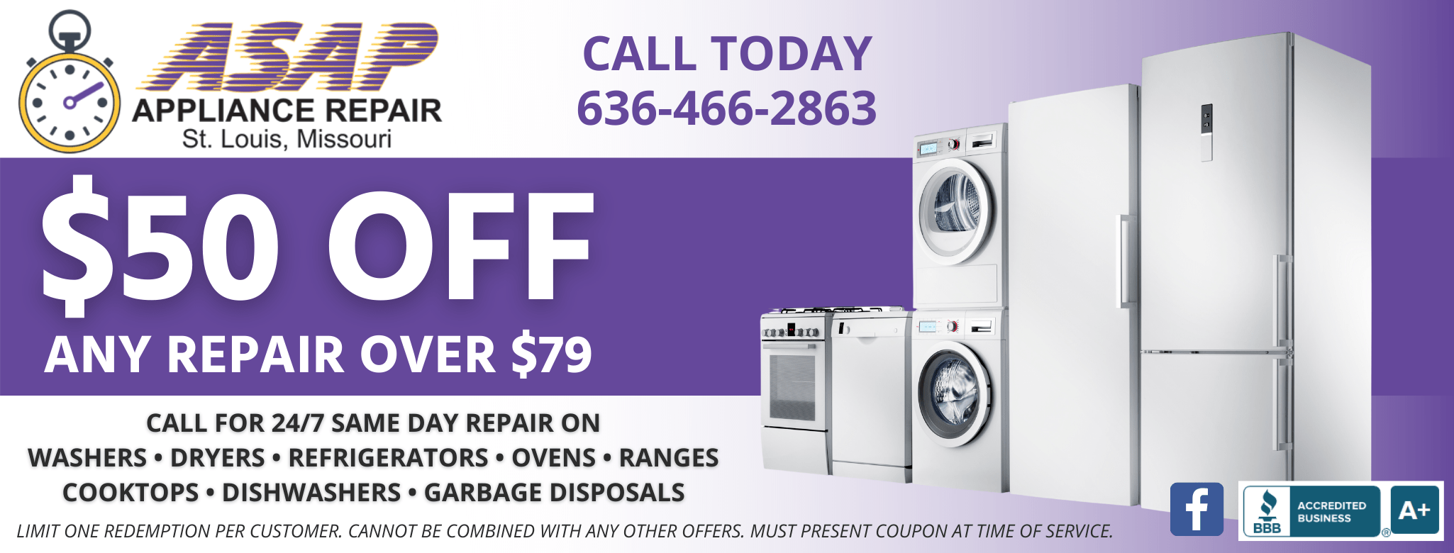 ASAP Appliance Repair Service Call Repair Coupon $50 Off