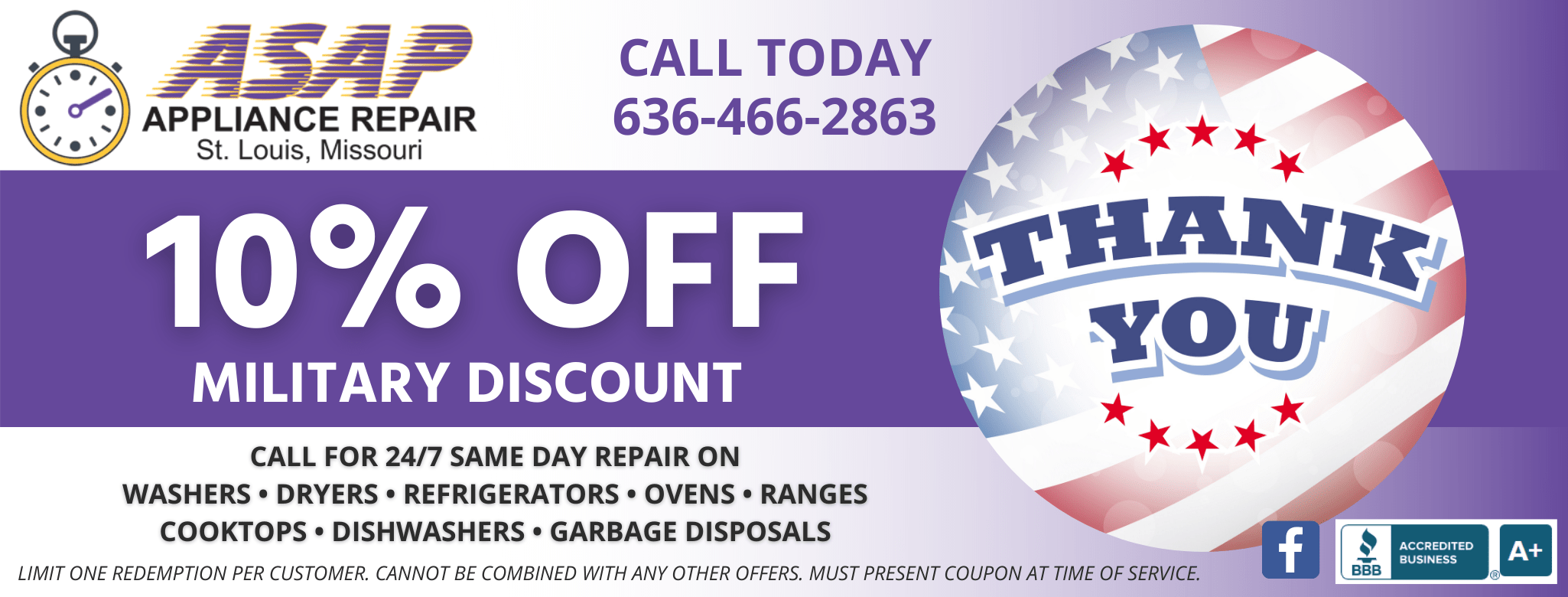 ASAP Appliance Repair 10% Off Military Discount Save on Appliance Repair Service