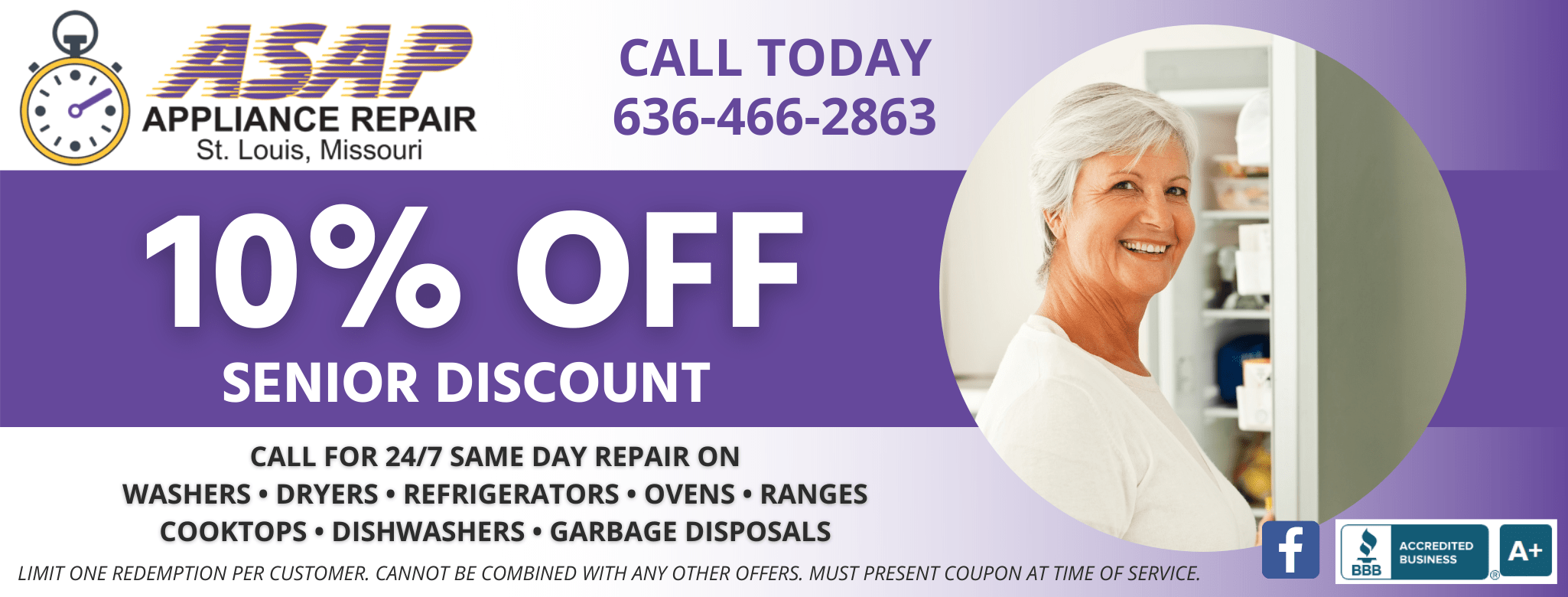 ASAP Appliance Repair 10% Senior Discount on Appliance Repair